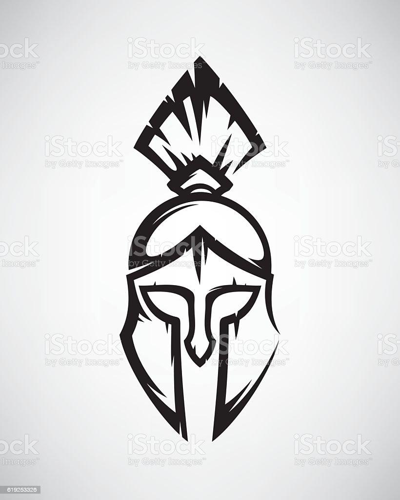 Spartan helmet vector art illustration