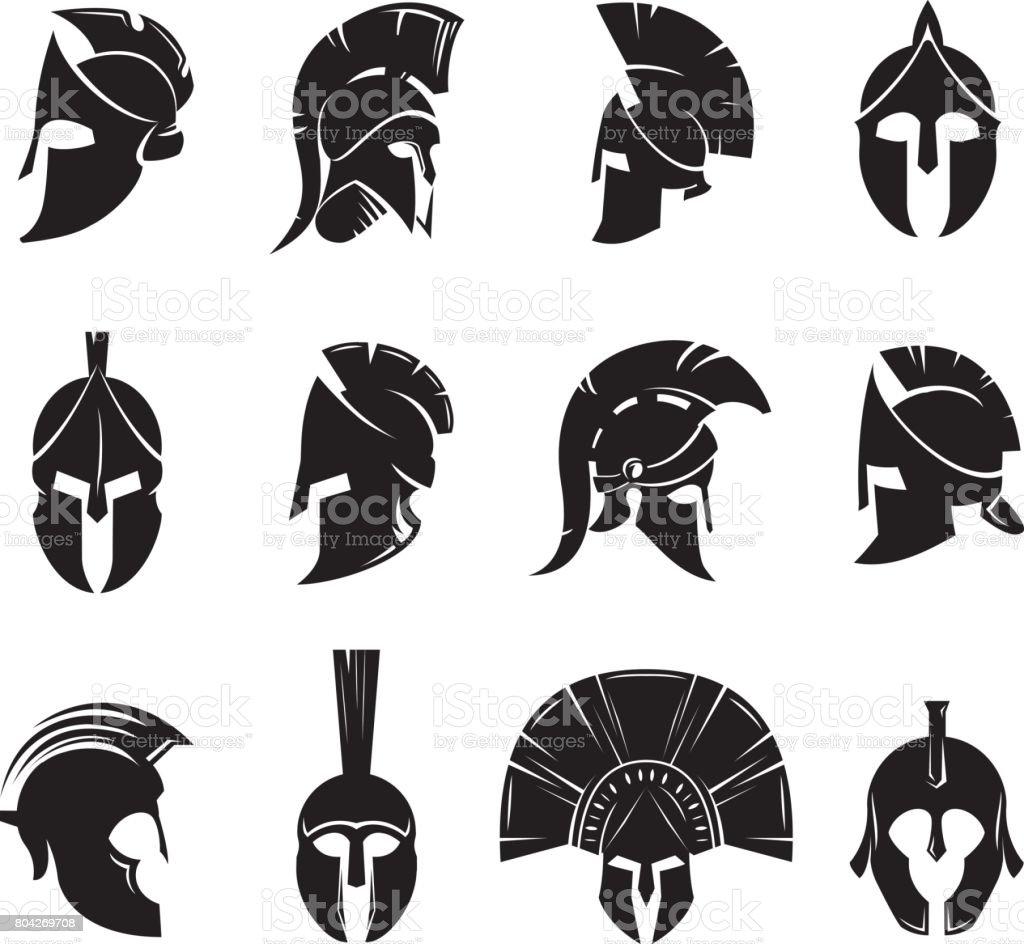 Spartan helmet vector set vector art illustration