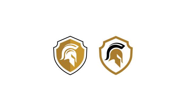 ilustrações, clipart, desenhos animados e ícones de vetor de ícone do logotipo espartano - equipe esportiva