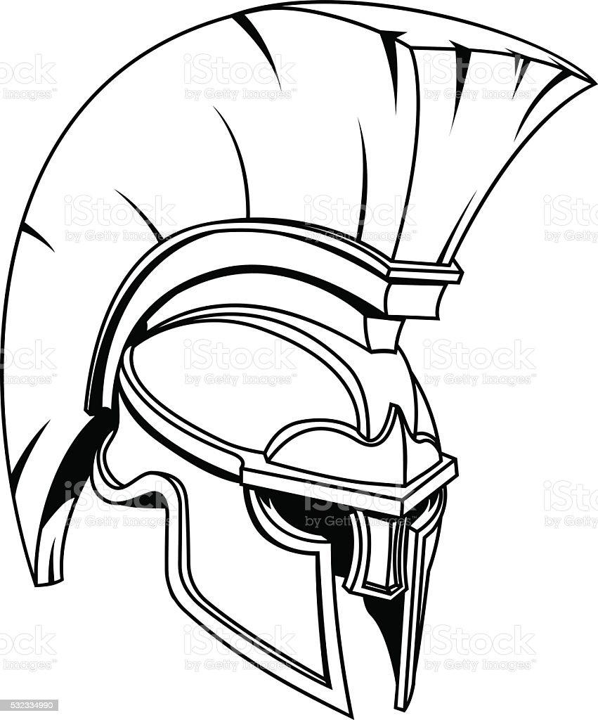 Spartan or Trojan Gladiator Helmet vector art illustration