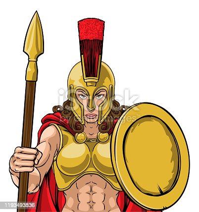 A Spartan or Trojan female warrior gladiator woman sports team mascot