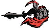 Spartan Trojan Silhouette Mascot Stabbing with Sword
