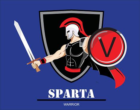 Spartan Trojan Warrior Holding Shield And Sword Stock ...
