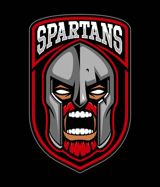 illustrazioni stock, clip art, cartoni animati e icone di tendenza di spartan warrior emblem. - box name