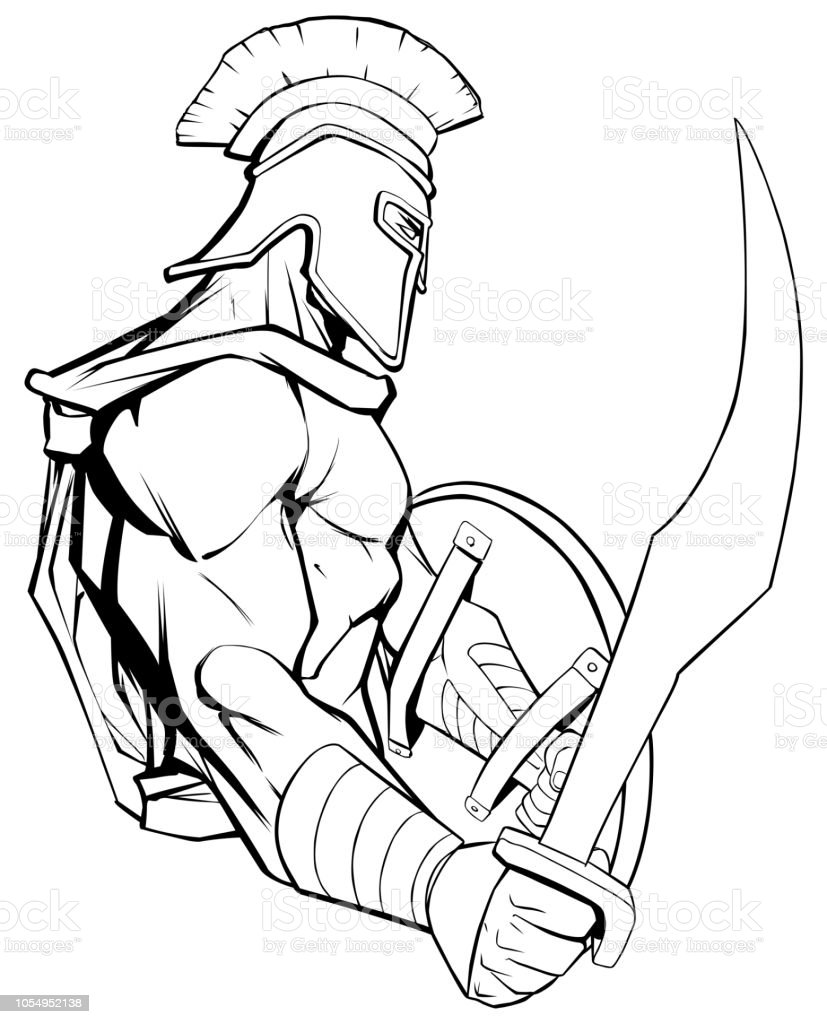 Spartan Warrior Mascot vector art illustration