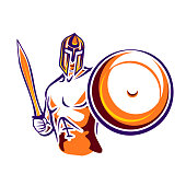 Spartan warrior with a sword and a shield