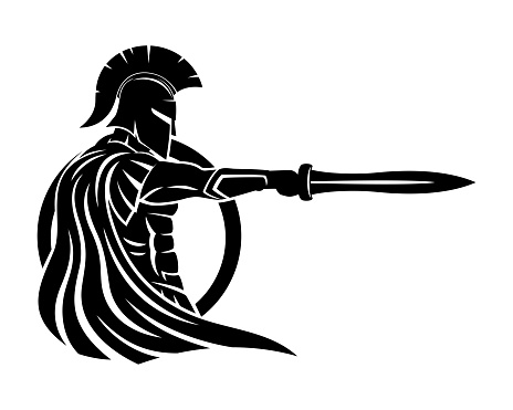 Spartan with sword and shield.