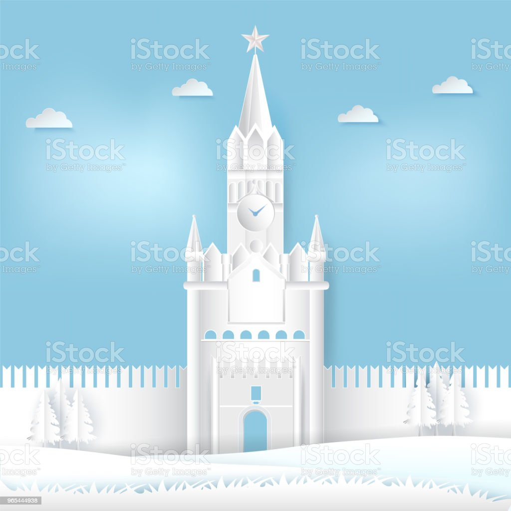 Spasskaya tower of Kremlin, Moscow in Russia Paper cut, Paper art illustration background royalty-free spasskaya tower of kremlin moscow in russia paper cut paper art illustration background stock vector art & more images of ancient