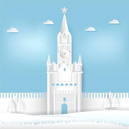 Spasskaya 타워 크렘린 모스크바 러시아 종이에서 잘라 종이 아트 일러스트 배경 건물 외관에 대한 스톡 벡터 아트 및 기타 이미지