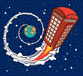 Vector illustration of a typical United Kingdom red telephone public, flying in the sideral space
