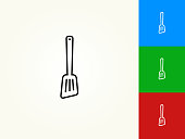 Spatula Black Stroke Linear Icon. This royalty free vector illustration is featuring a black outline linear icon on a light background. The stroke is editable and the width of the line can be easily adjusted. The icon can also be converted to have a black fill color. The download includes 3 additional versions of this icon on blue, green and red background.