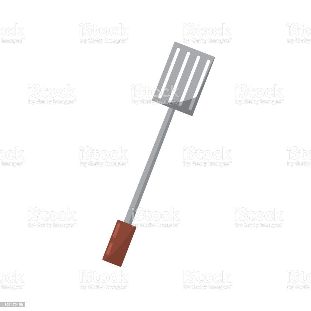 spatula grilled picnic utensil vector art illustration