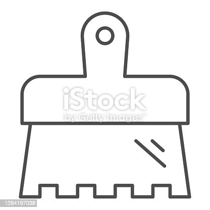 istock Spatula thin line icon, house repair concept, putty knife sign on white background, wide spatula icon in outline style for mobile concept and web design. Vector graphics. 1264197038