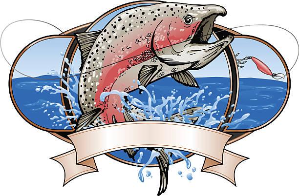 産卵するサケ釣りのロゴ ベクターアートイラスト