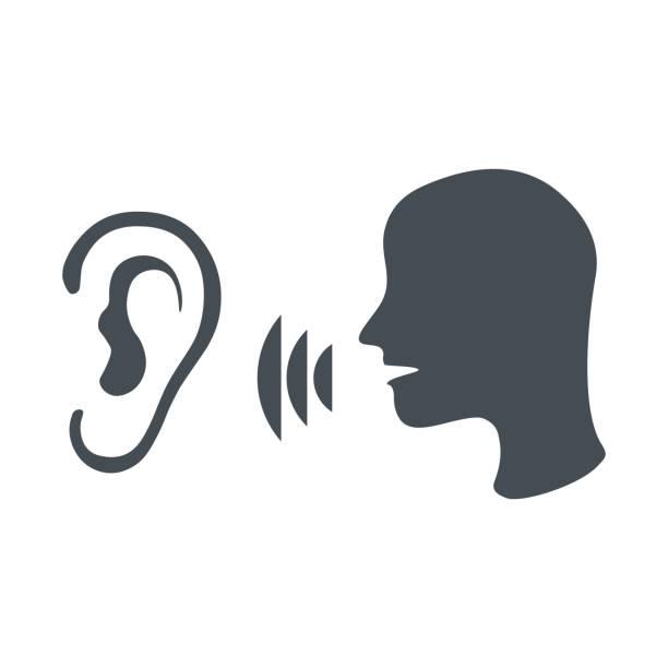 illustrazioni stock, clip art, cartoni animati e icone di tendenza di speak and listen symbol - ear talking