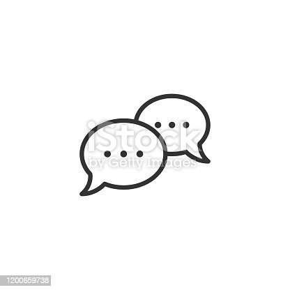 Speak chat sign icon in flat style. Speech bubbles vector illustration on white isolated background. Team discussion button business concept.
