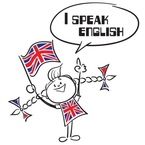 ilustraciones, imágenes clip art, dibujos animados e iconos de stock de hablo inglés - bandera británica