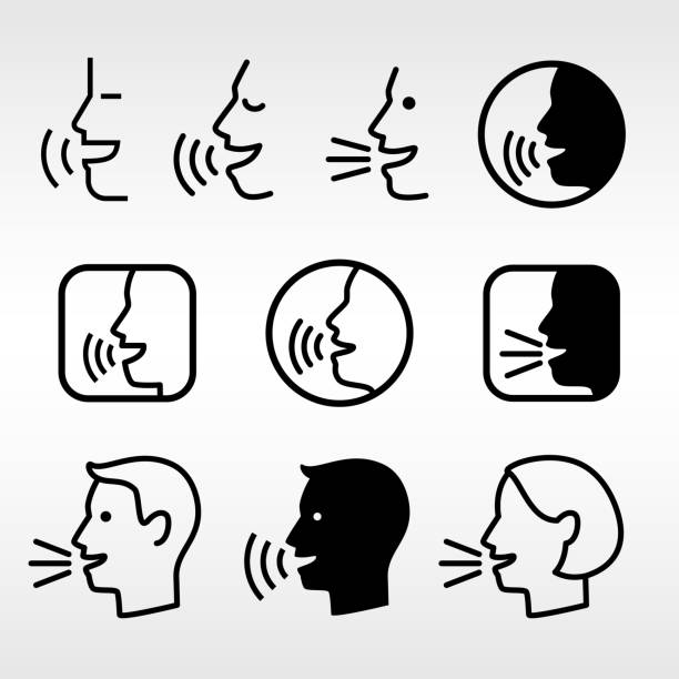Speak head technology signs vector art illustration