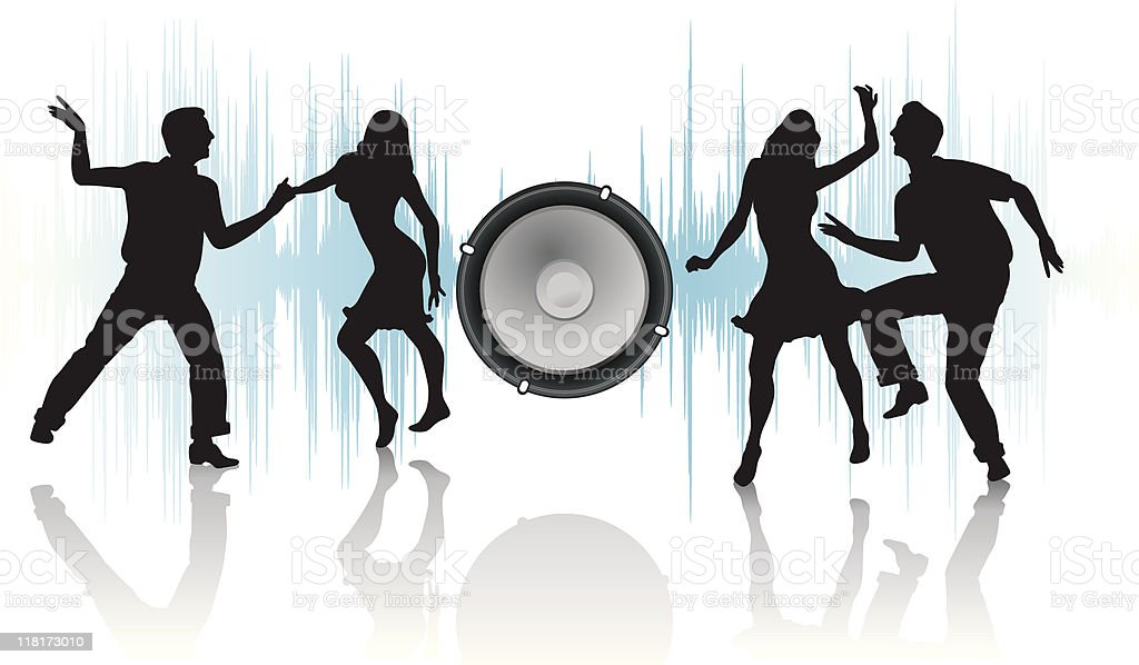 speaker and silhouettes of dancers couples vector art illustration