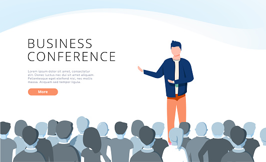 Speaker at Business Conference concept illustration, perfect for web design, banner, mobile app, landing page