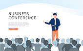 Speaker at Business Conference concept illustration, perfect for web design, banner, mobile app, landing page, vector flat design. Online conference landing page. Website UI interface. Vector
