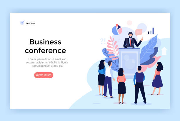 referent bei business conference konzept illustration. - webdesigner grafiken stock-grafiken, -clipart, -cartoons und -symbole