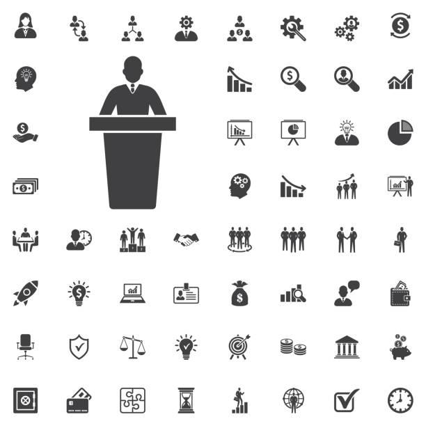 speaker black icon. orator speaking from tribune vector illustra speaker black icon. orator speaking from tribune vector illustration on white background. Business set of icons president stock illustrations