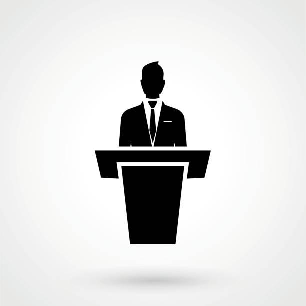 speaker black icon. orator speaking from tribune vector illustration speaker black icon. orator speaking from tribune vector illustration candidate stock illustrations