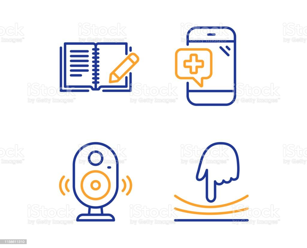 Speaker, Feedback and Medical phone icons simple set. Elastic sign....