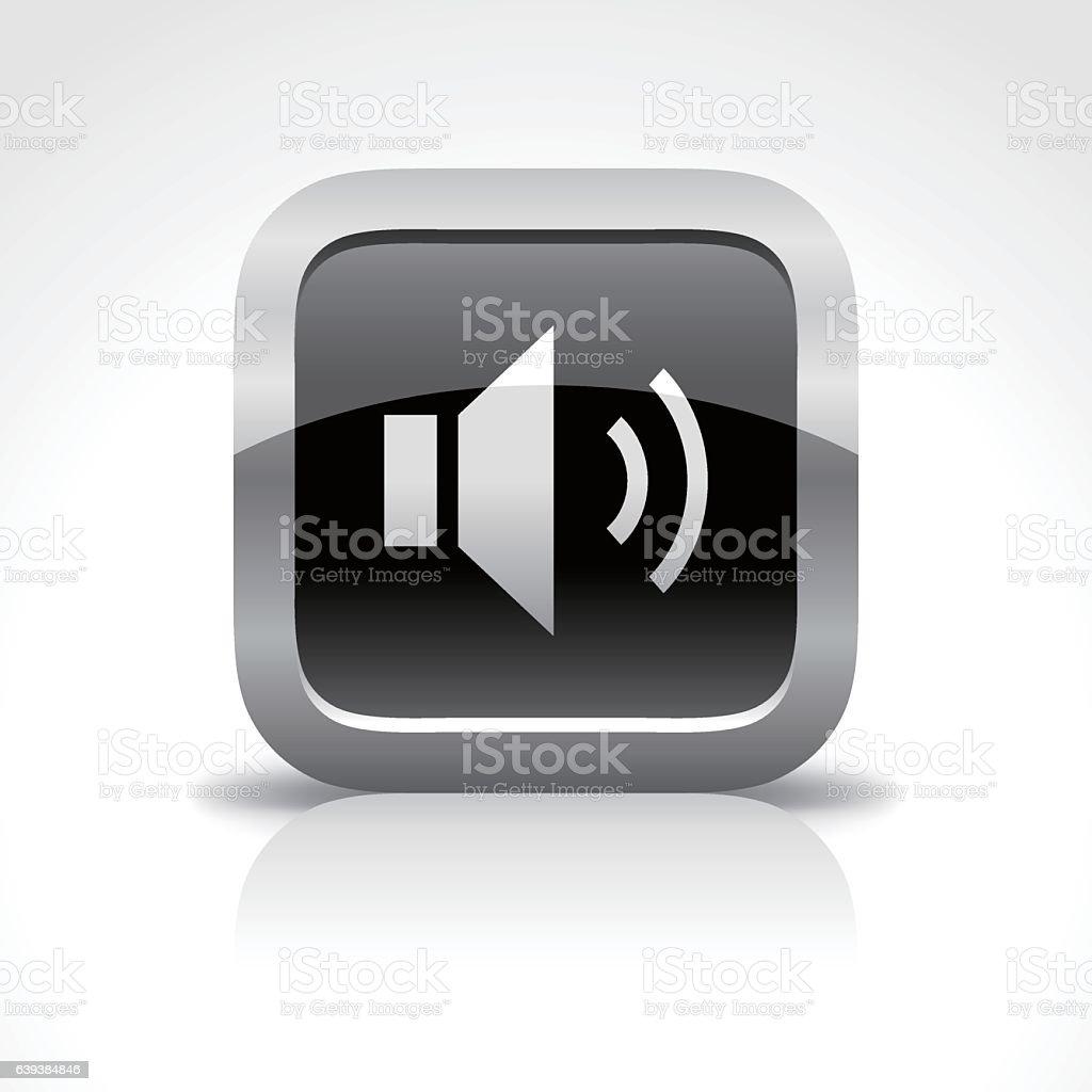 Speaker Glossy Button Icon vector art illustration