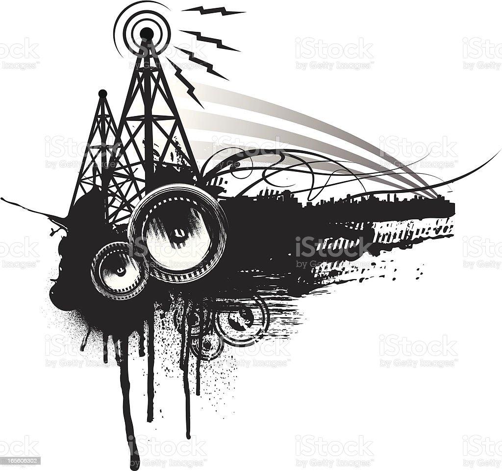speaker grunge frequency royalty-free stock vector art
