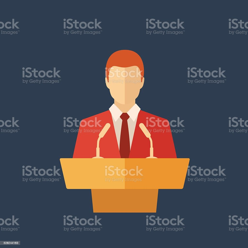 Speaker icon. Orator speaking from tribune vector art illustration
