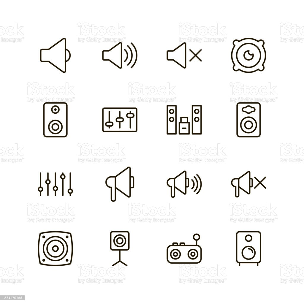 Speaker icon set vector art illustration