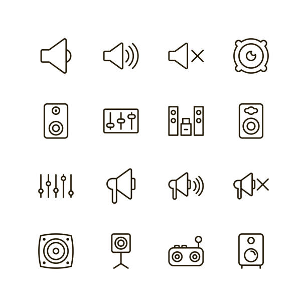 speaker icon set - hałas stock illustrations
