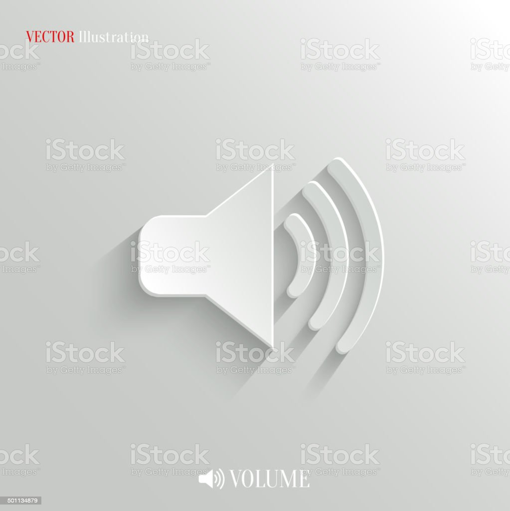 Speaker icon - vector white app button vector art illustration