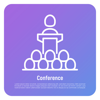 Speaker, leader, president thin line icon. Conference: man at tribune. Politician or candidate at debate. Vector illustration.
