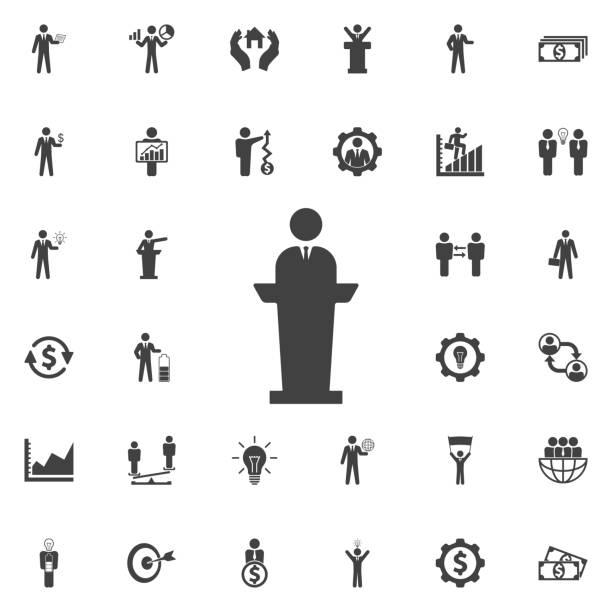 스피커 사람 아이콘입니다. - 정치와 정부 stock illustrations