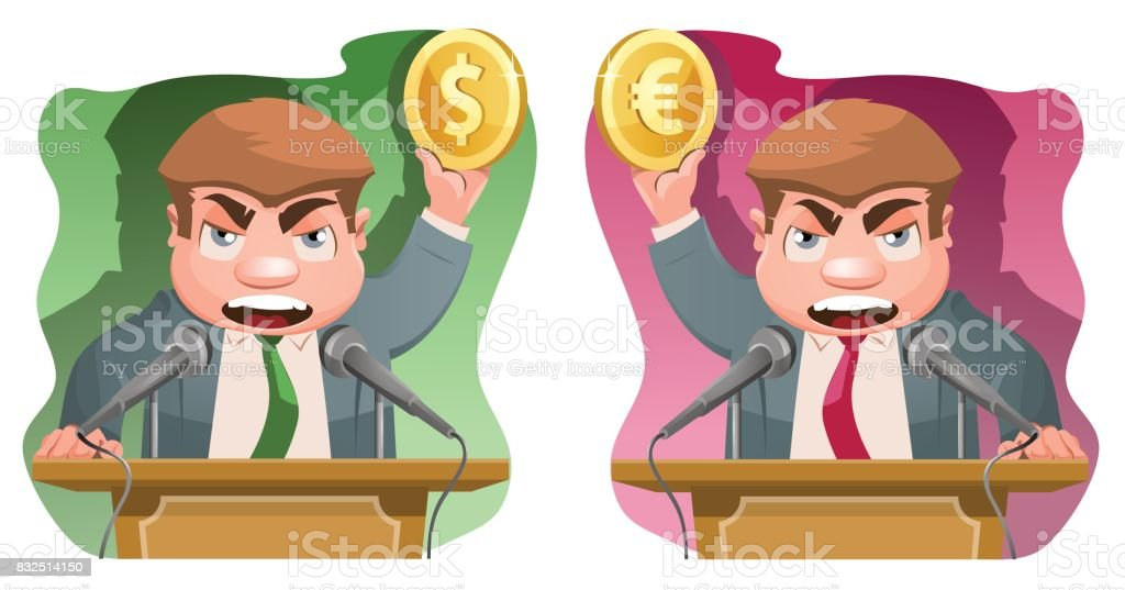 Speaker on the rostrum holds a dollar symbol and  a euro symbol. vector art illustration