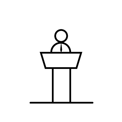 Speaker or conference thin line icon in black. Person behind the pulpit on presentation. Business coach behind the podium sign. Flat isolated symbol, for: logo, mobile, app, web, ui, ux. Vector EPS 10