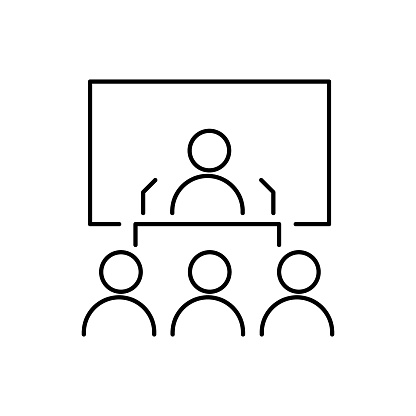 Speaker or conference thin line icon in black. Person behind the pulpit on presentation. Business coach behind the podium sign. Man on the background of a screen or blackboard. Ui, ux. Vector EPS 10