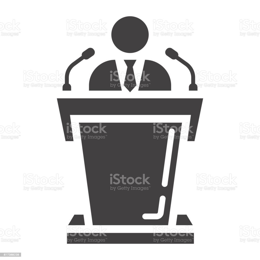 Speaker solid icon, business and tribune, vector graphics, a glyph pattern on a white background, eps 10. vector art illustration
