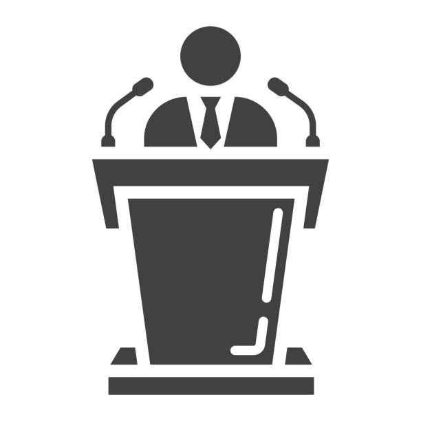 ilustrações, clipart, desenhos animados e ícones de ícone de alto-falante sólido, negócios e tribuno, gráficos vetoriais, um padrão de glifo em um fundo branco, eps 10. - político