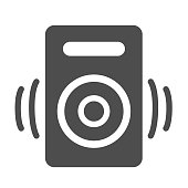 Speaker solid icon, Media concept, audio speaker sign on white background, sound from speaker icon in glyph style for mobile concept and web design. Vector graphics