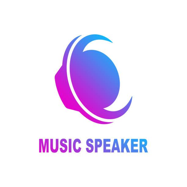 Speaker sound logo. Sound speaker and musical logo template. Woofer vector design. Subwoofer illustration. EPS 10 vector art illustration