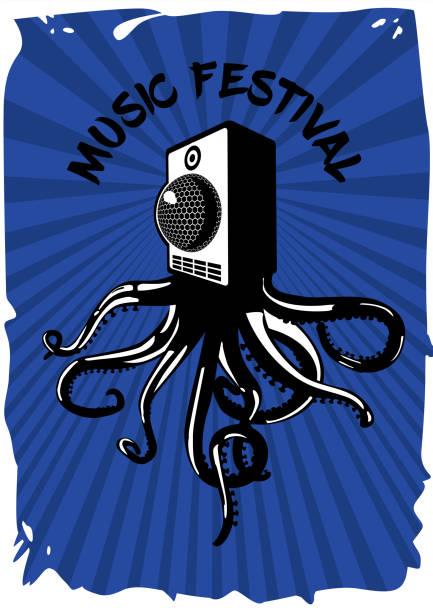 lautsprecher-soundsystem mit tintenfisch. musikfestival vintage-plakat. elektronische party-banner-vorlage. - swag stock-grafiken, -clipart, -cartoons und -symbole