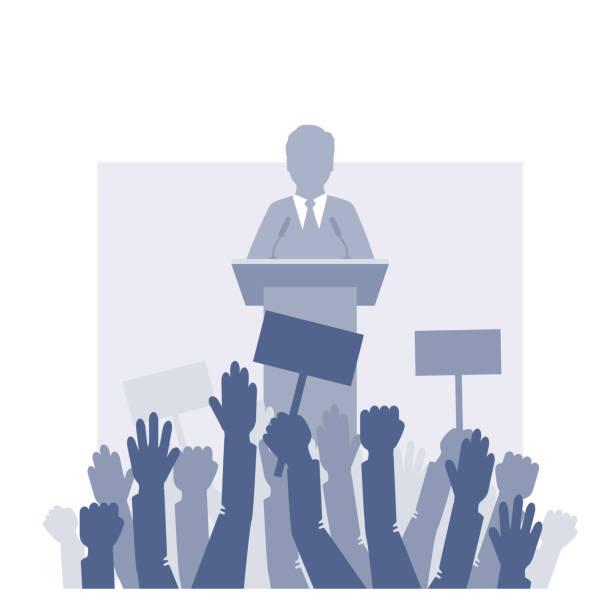 ilustrações, clipart, desenhos animados e ícones de alto-falante está na frente da multidão. ilustração vetorial - político