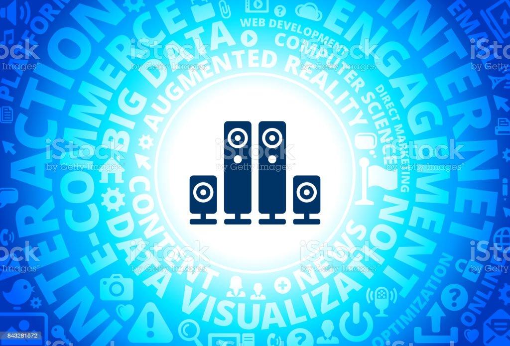 Speaker System Icon on Internet Modern Technology Words Background vector art illustration