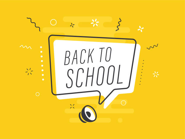 Speaker with back to school speech bubble on yellow background. Loudspeaker. Everything built on layers and editable shapes. stock illustration Everything built on layers and editable shapes. stock illustration back to school stock illustrations