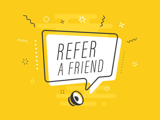 Speaker with refer a friend speech bubble on yellow background. Loudspeaker. Everything built on layers and editable shapes. stock illustration Everything built on layers and editable shapes. stock illustration stunt stock illustrations