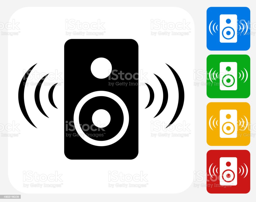 Speakers Icon Flat Graphic Design vector art illustration